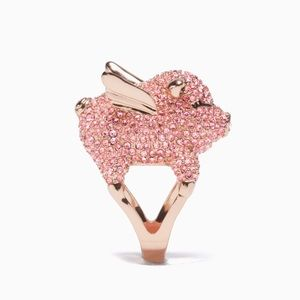 NWT Kate Spade Wild Imagination Pink Pave Pig Ring